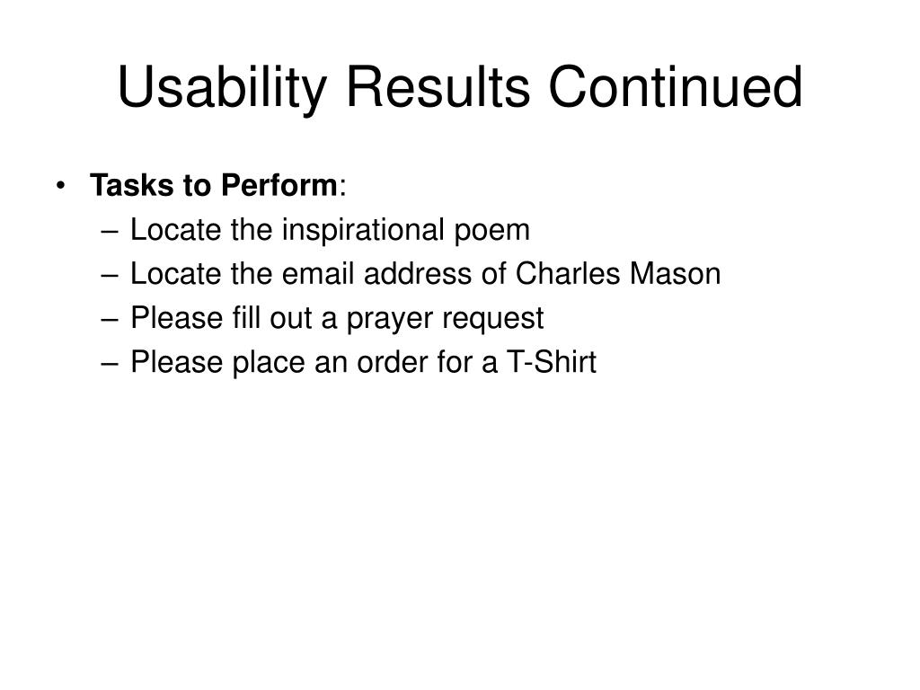 Usability Results Continued