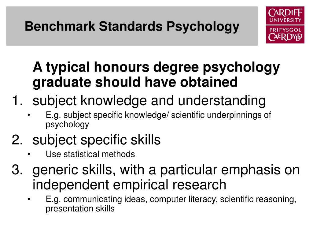 Benchmark Standards Psychology