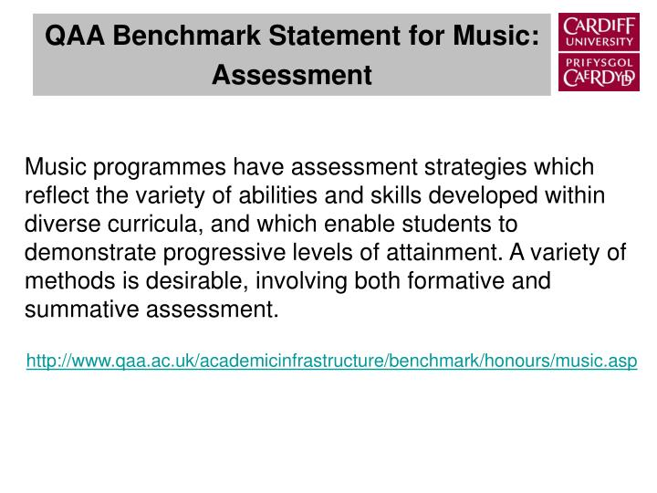 Qaa benchmark statement for music assessment