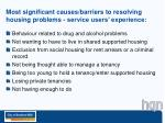 most significant causes barriers to resolving housing problems service users experience