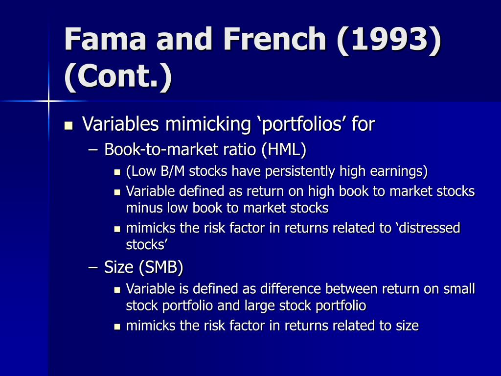Fama and French (1993) (Cont.)