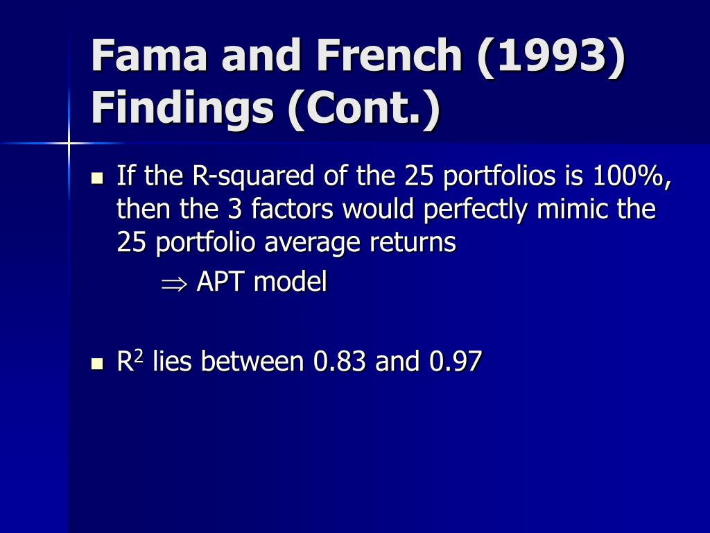 Fama and French (1993) Findings (Cont.)
