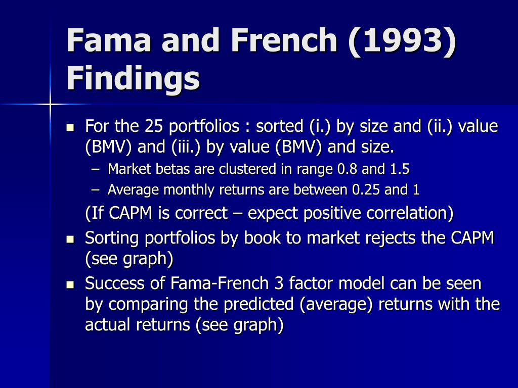 Fama and French (1993) Findings