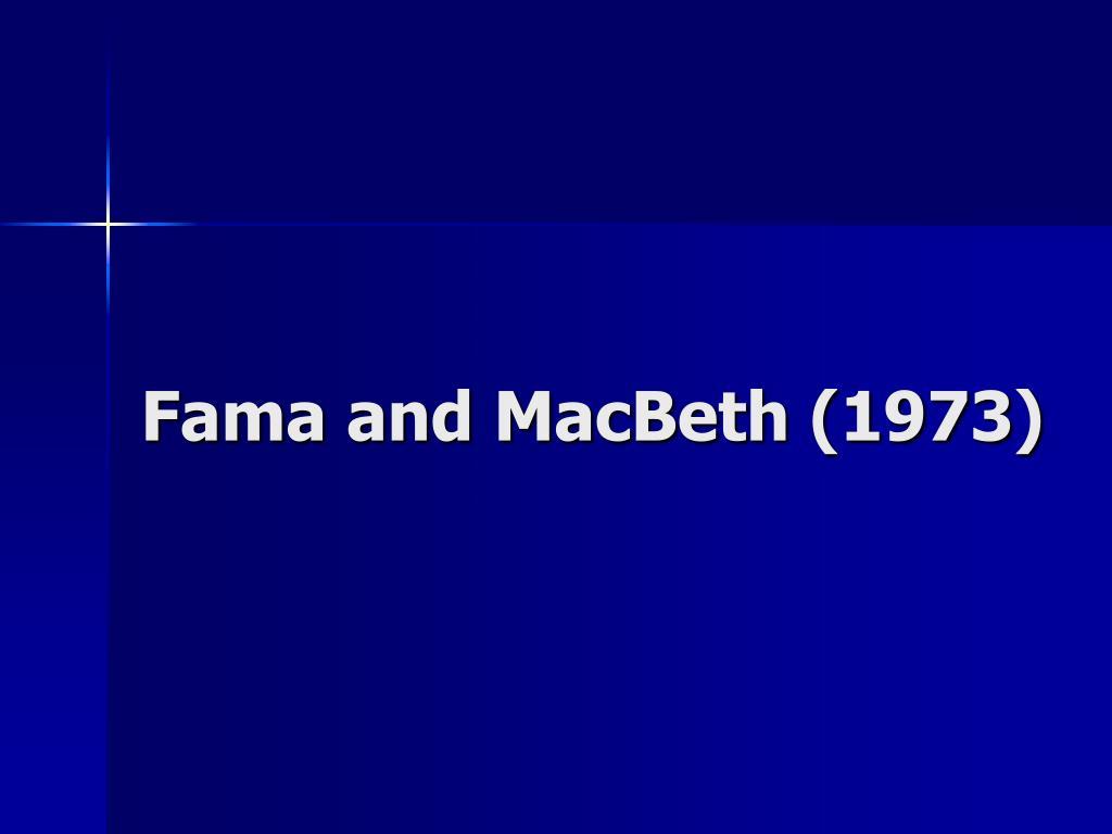 Fama and MacBeth (1973)