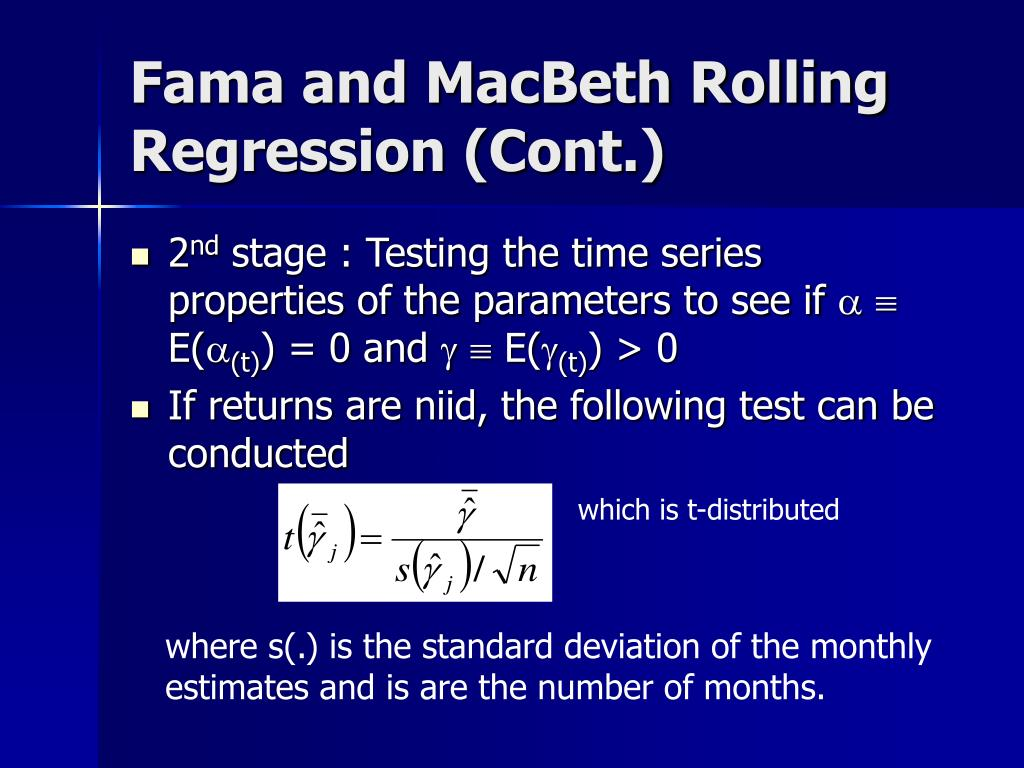 Fama and MacBeth Rolling Regression (Cont.)
