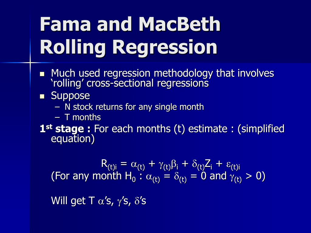 Fama and MacBeth Rolling Regression