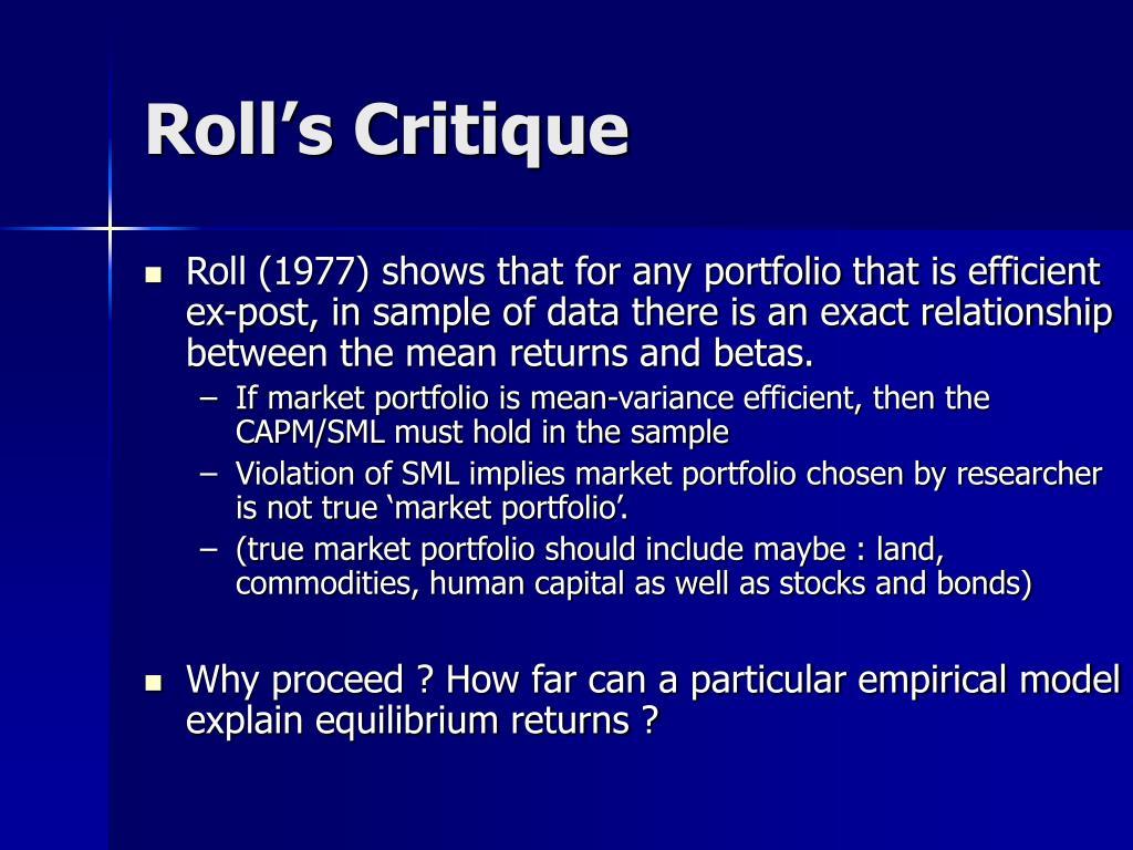 Roll's Critique