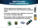 wap provides device independence