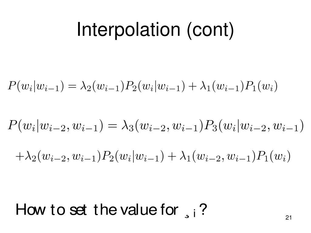 Interpolation (cont)