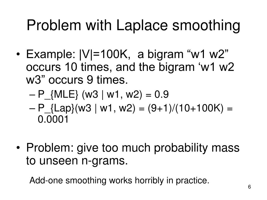 Problem with Laplace smoothing