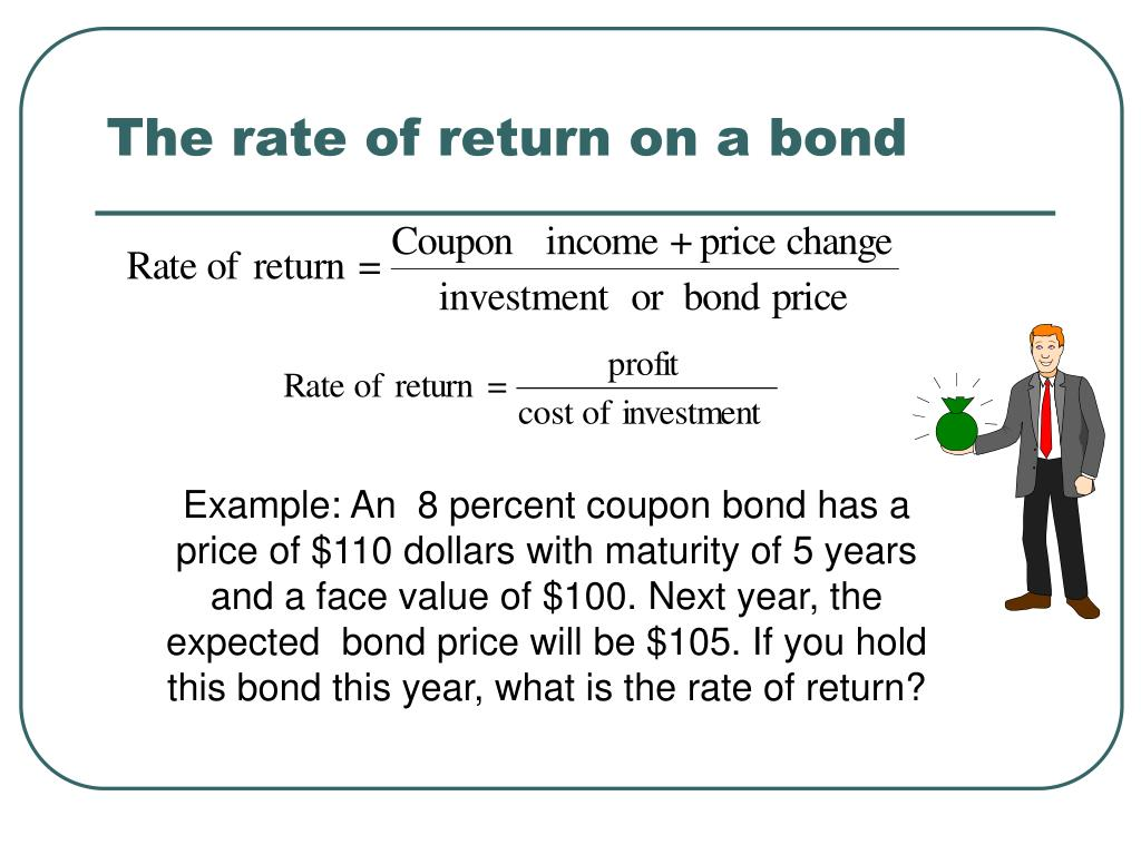 The rate of return on a bond
