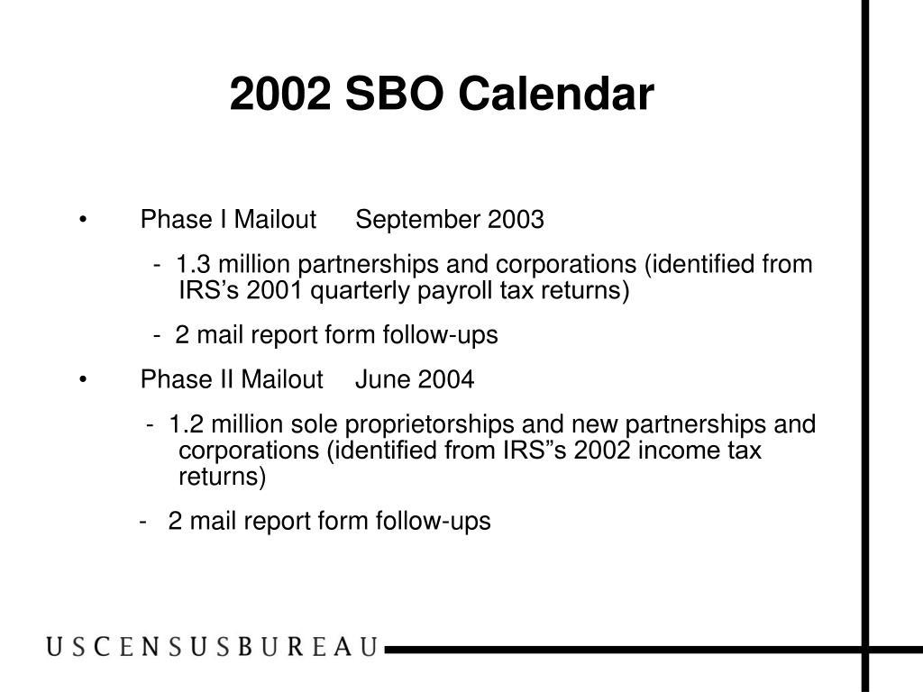 2002 SBO Calendar
