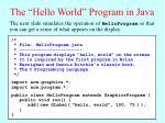 the hello world program in java