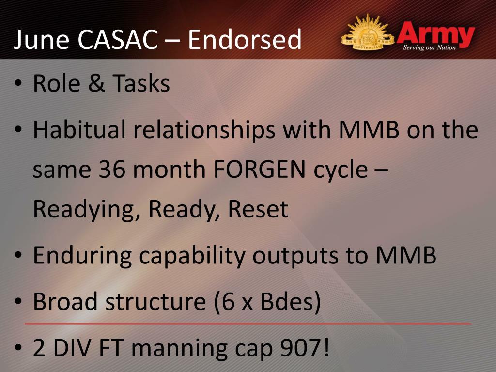 June CASAC – Endorsed
