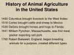 history of animal agriculture in the united states