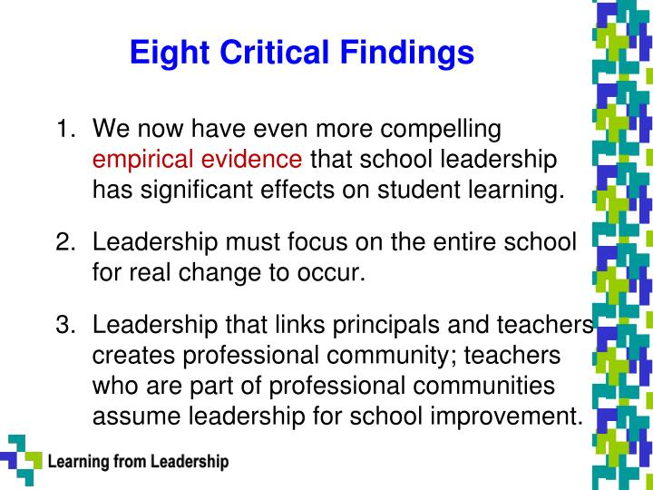 Eight critical findings