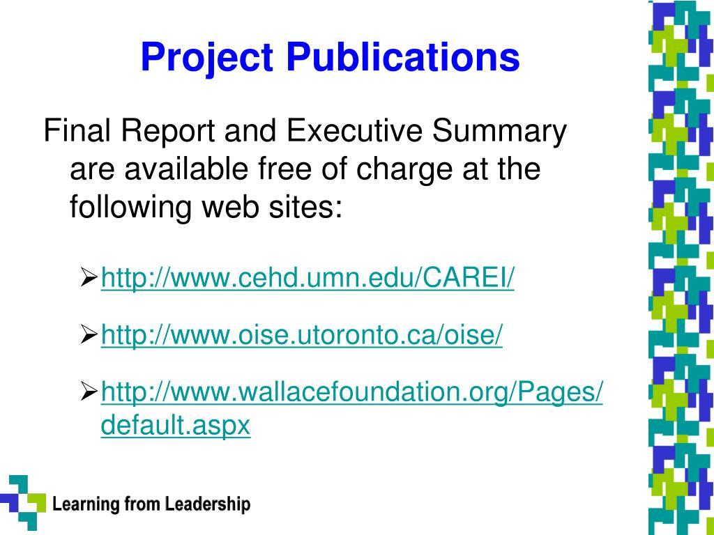 Project Publications