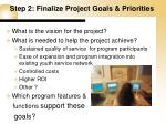 step 2 finalize project goals priorities