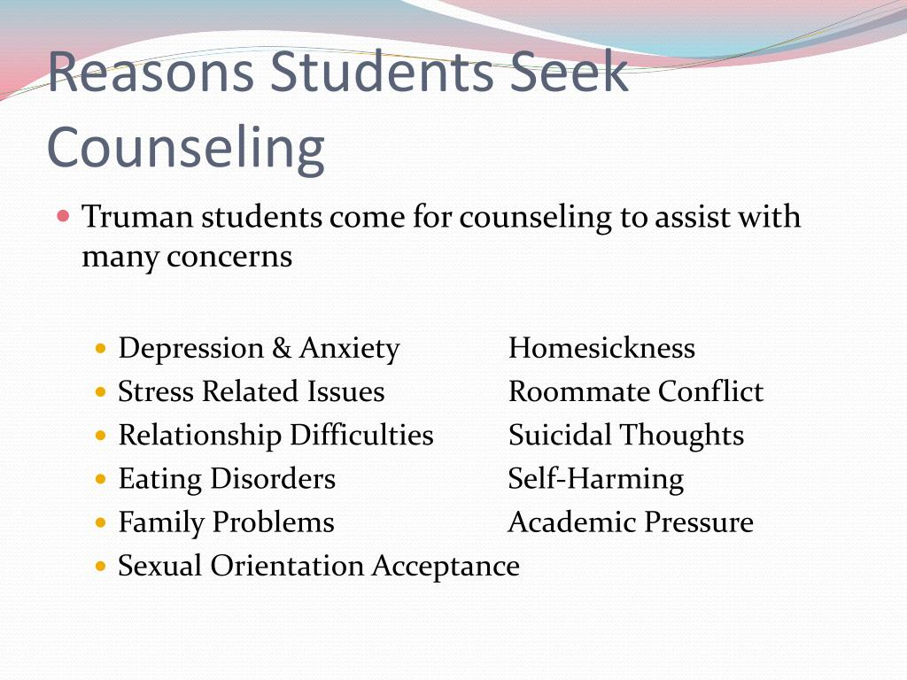 Reasons Students Seek Counseling
