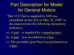 part description for model for general motors