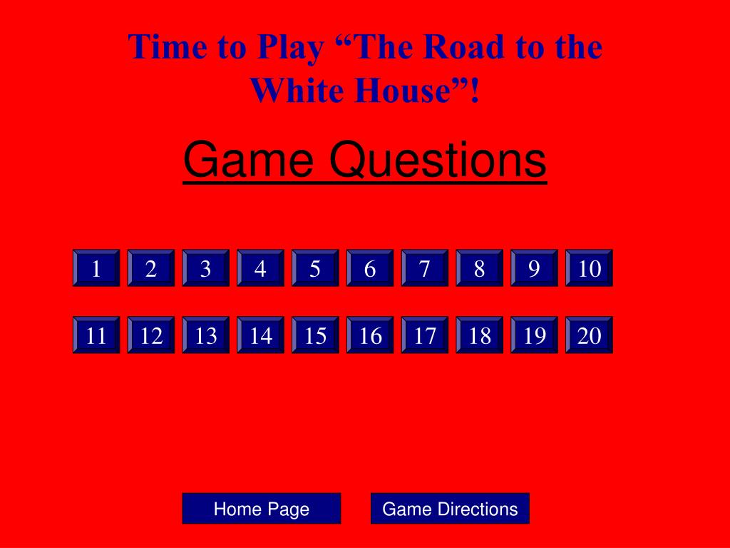 """Time to Play """"The Road to the    White House""""!"""