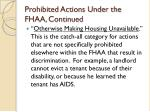 prohibited actions under the fhaa continued15