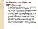 prohibited actions under the fhaa continued17