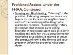 prohibited actions under the fhaa continued19