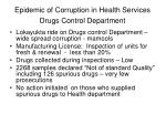epidemic of corruption in health services drugs control department