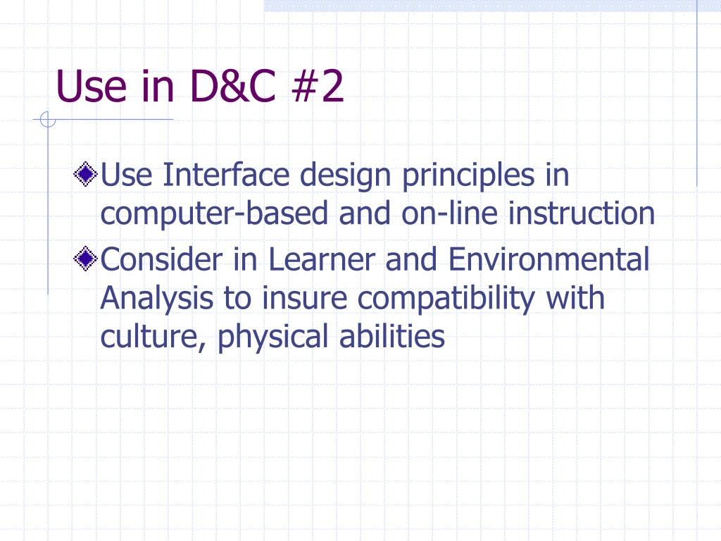 Use in D&C #2