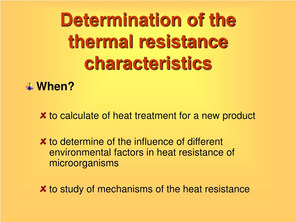 Determination of the thermal resistance characteristics