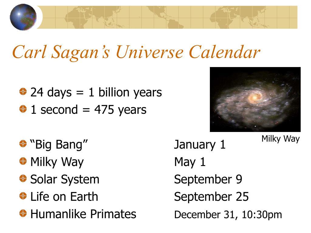 Carl Sagan's Universe Calendar