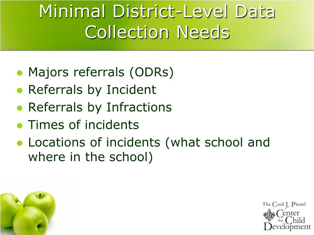 Minimal District-Level Data Collection Needs