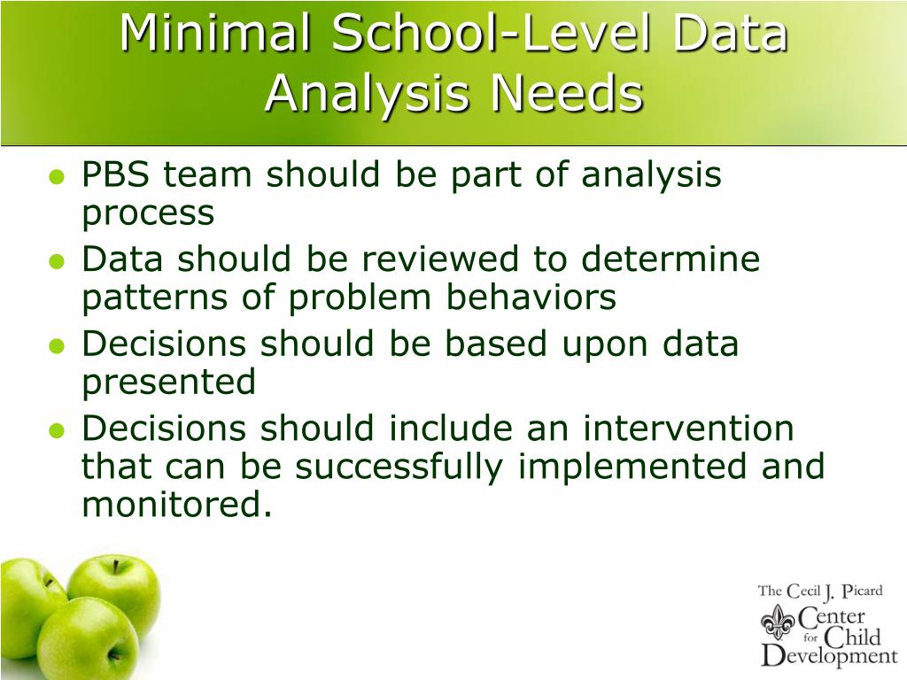Minimal School-Level Data Analysis Needs