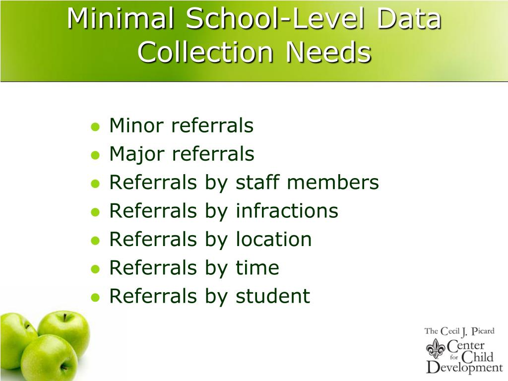 Minimal School-Level Data Collection Needs
