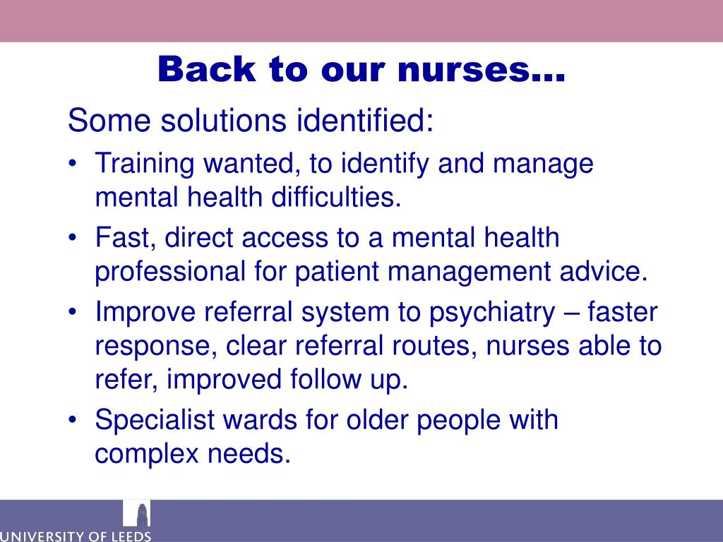 Back to our nurses…