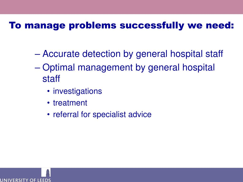 To manage problems successfully we need: