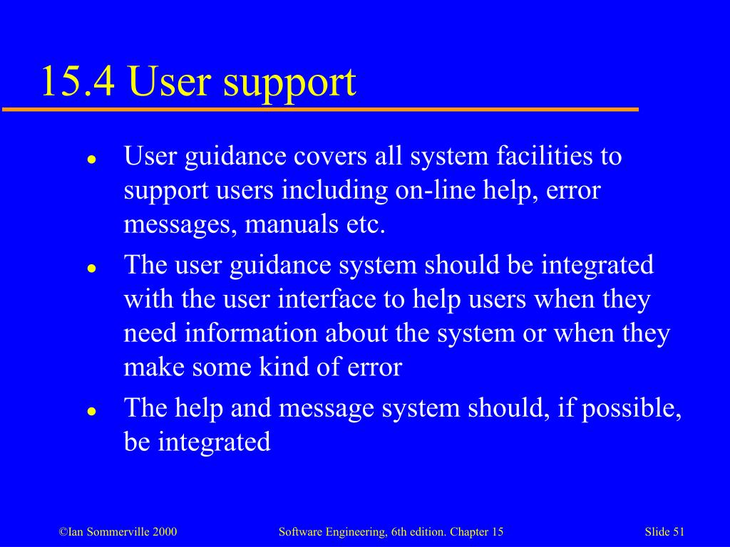 15.4 User support