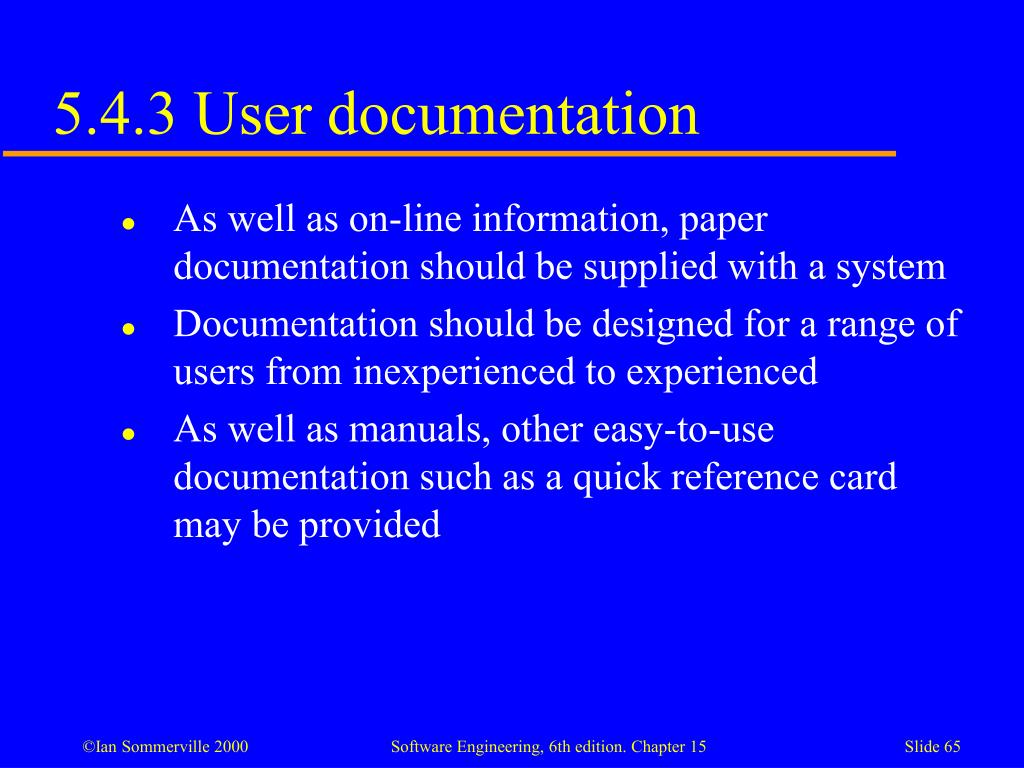 5.4.3 User documentation