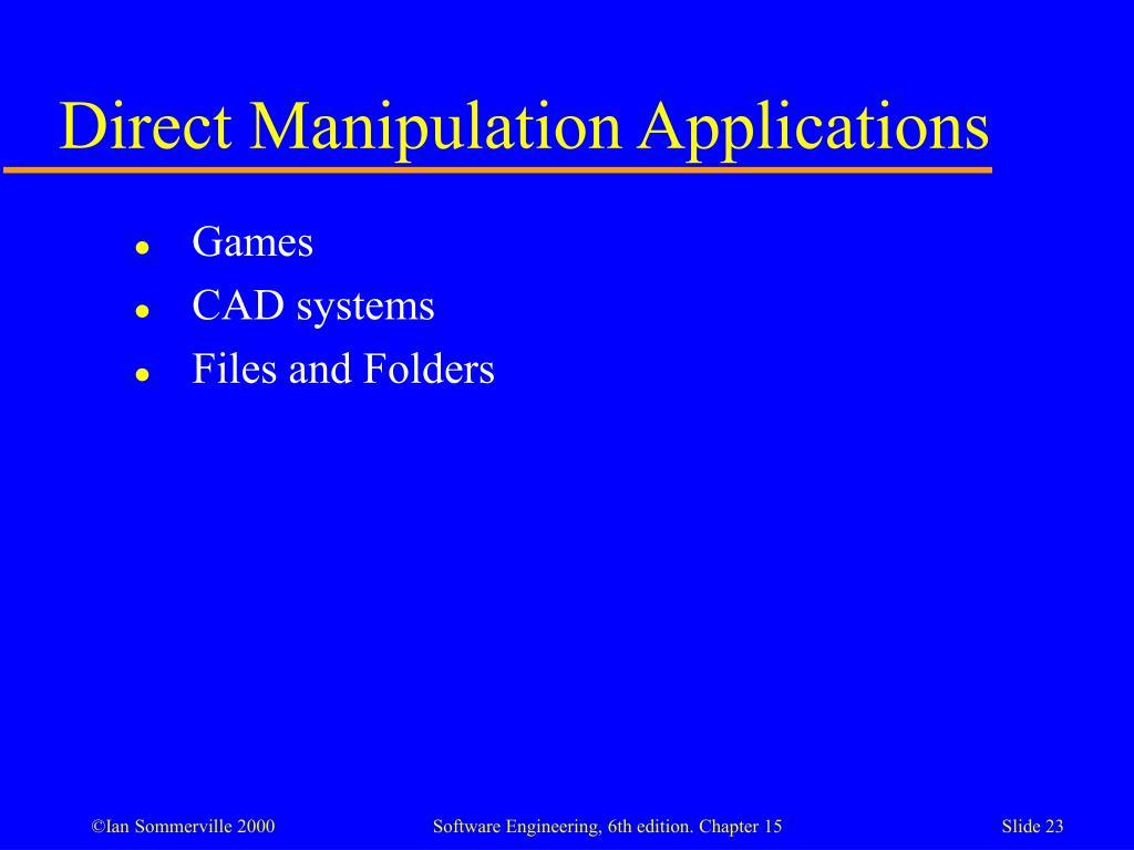 Direct Manipulation Applications