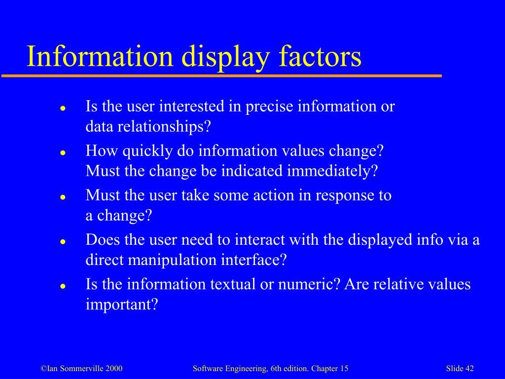 Information display factors