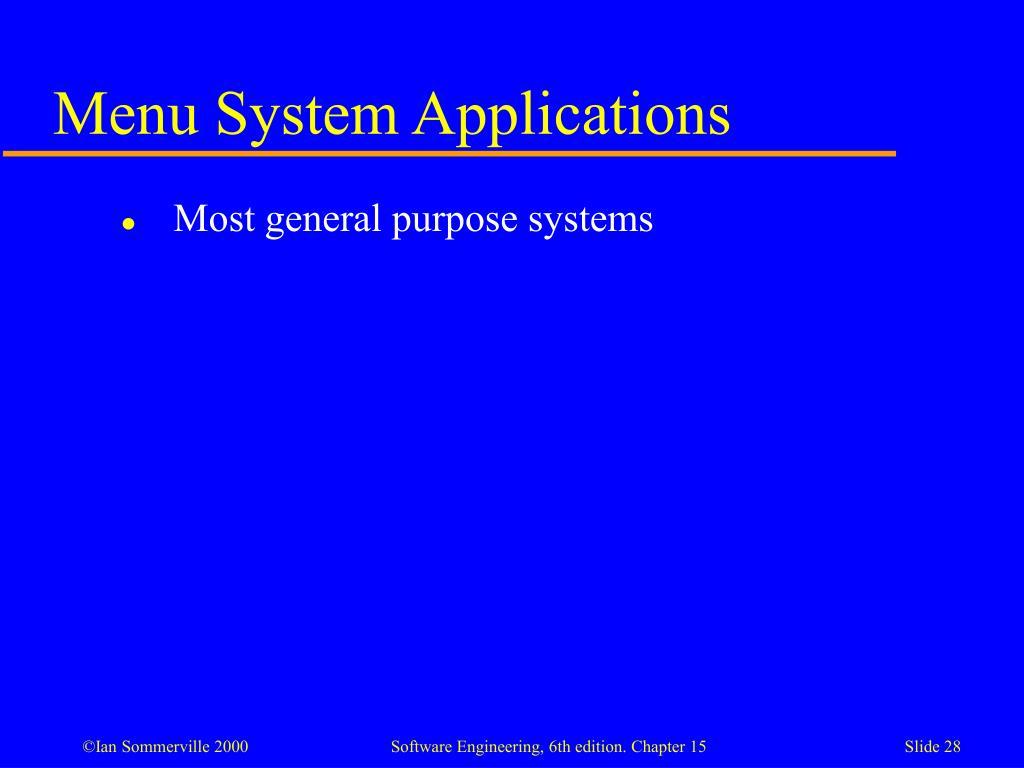 Menu System Applications