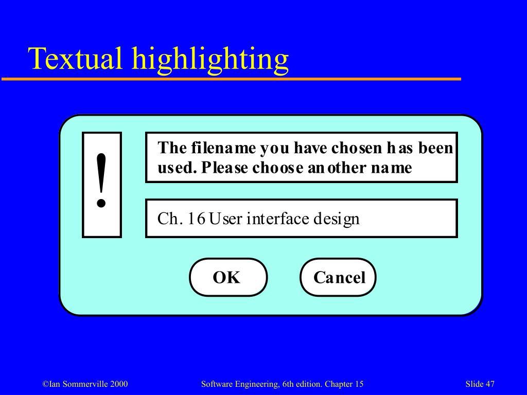 Textual highlighting