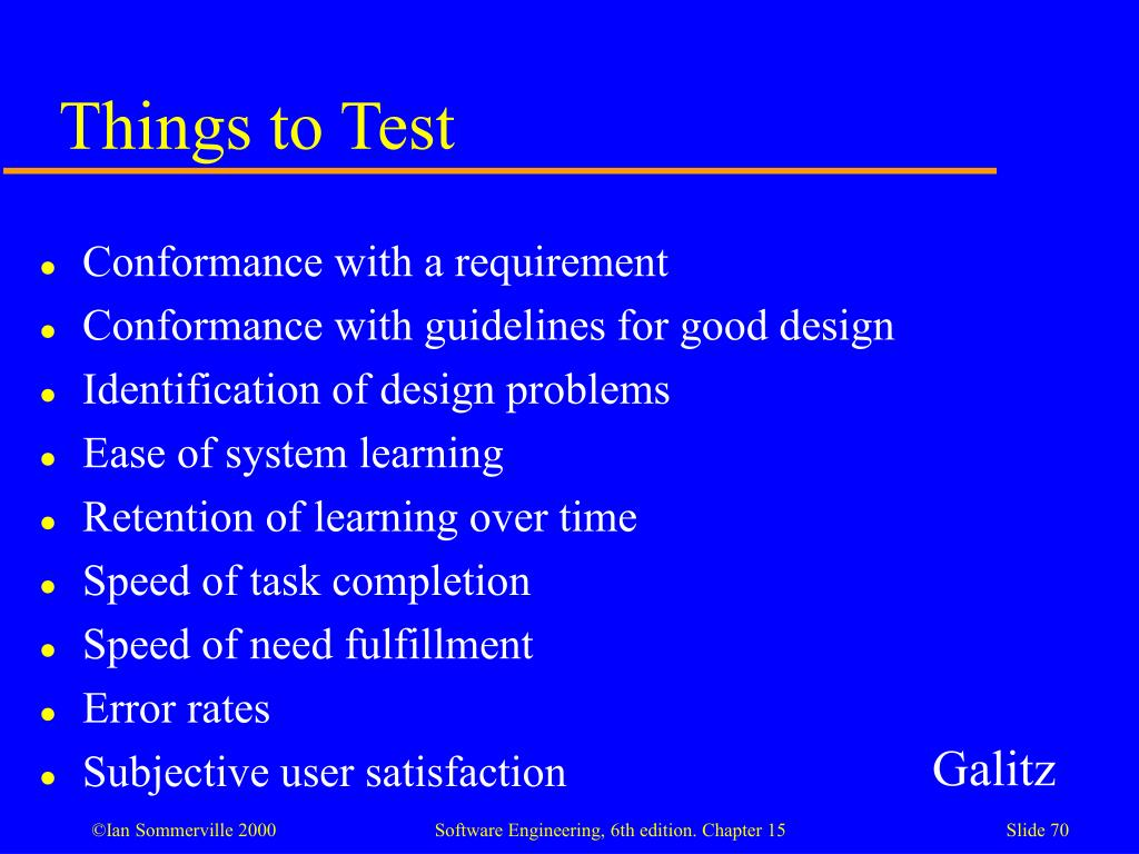 Things to Test