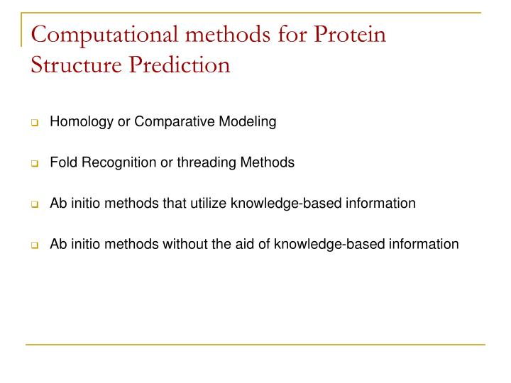 Computational methods for Protein Structure Prediction