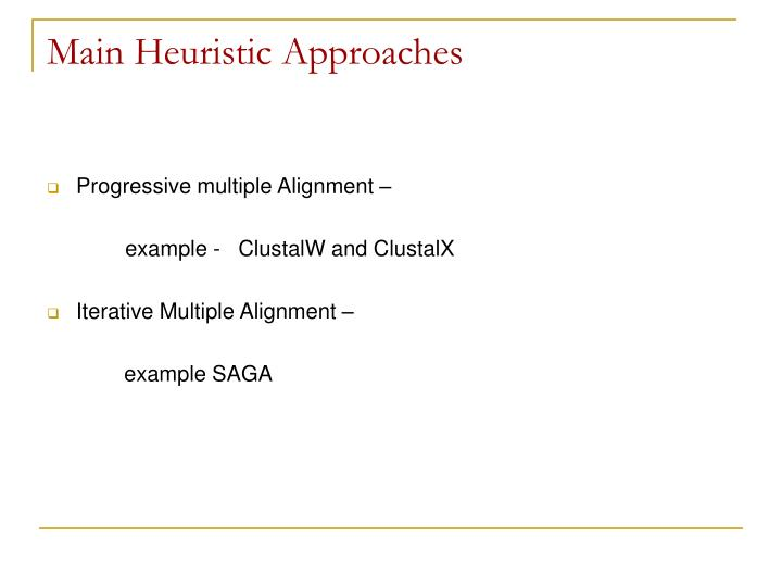 Main Heuristic Approaches