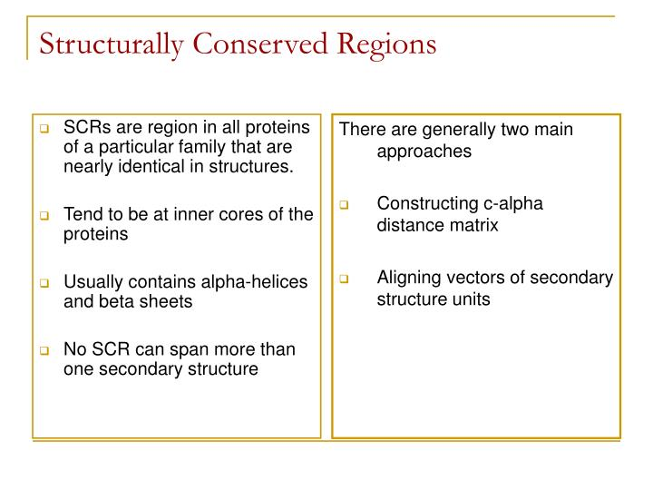 SCRs are region in all proteins of a particular family that are nearly identical in structures.