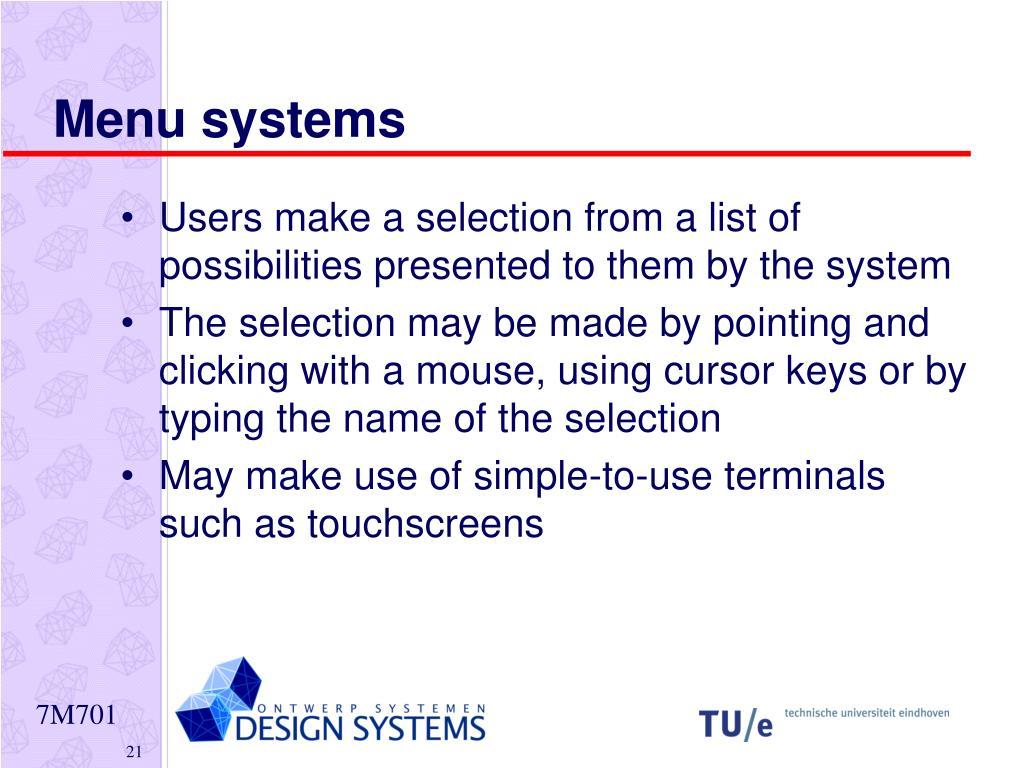 Menu systems