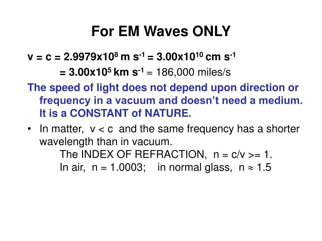 For EM Waves ONLY