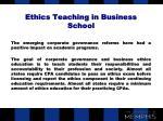 ethics teaching in business school